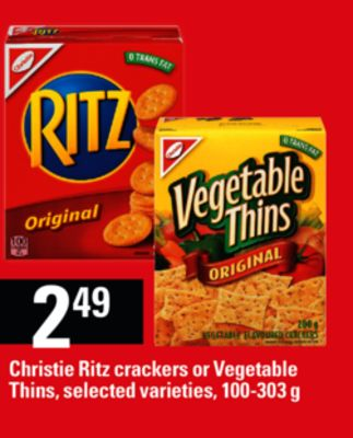Christie Ritz Crackers Or Vegetable Thins - 100-303 g