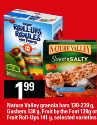 Nature Valley Granola Bars - 130-230 g - Gushers - 138 g - Fruit By The Foot - 128g Or Fruit Roll-ups - 141 g