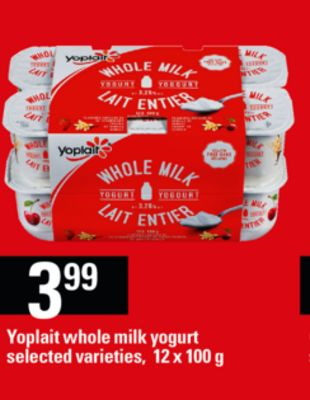 Yoplait Whole Milk Yogurt - 12 X 100 g