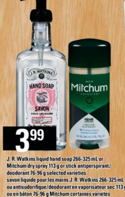 J. R. Watkins Liquid Hand Soap 266-325 Ml Or Mitchum Dry Spray 113 G Or Stick Antiperspirant/ Deodorant 76-96 G