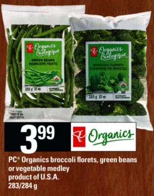 PC Organics Broccoli Florets - Green Beans Or Vegetable Medley - 283/284 g