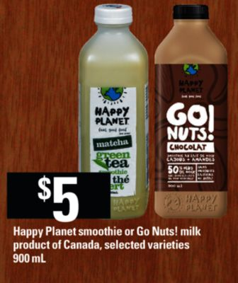 Happy Planet Smoothie Or Go Nuts! Milk - 900 mL