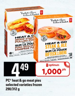 PC Heat & Go Meat Pies - 290/312 g