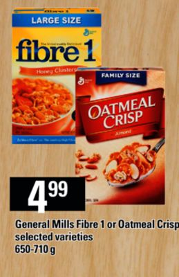 General Mills Fibre 1 Or Oatmeal Crisp - 650-710 g