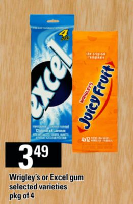 Wrigley's Or Excel GUM - Pkg of 4
