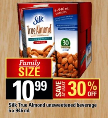 Silk True Almond Unsweetened Beverage - 6 X 946 Ml