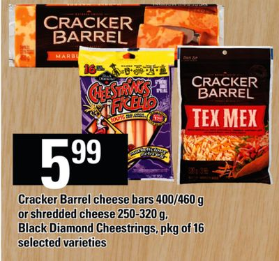 Cracker Barrel Cheese Bars - 400/460 g Or Shredded Cheese - 250-320 g - Black Diamond Cheestrings - Pkg of 16