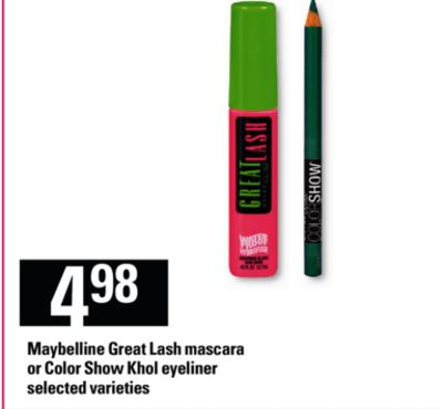 Maybelline Great Lash Mascara Or Color Show Khol Eyeliner