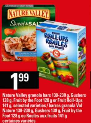 Nature Valley Granola Bars - 130-230 g - Gushers - 138 g - Fruit By The Foot - 128 g or Fruit Roll-ups - 141 g