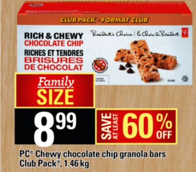 PC Chewy Chocolate Chip Granola Bars on sale | Salewhale.ca