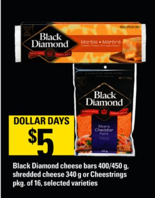 Black Diamond Cheese Bars - 400/450 G - Shredded Cheese - 340 G Or Cheestrings - Pkg Of 16
