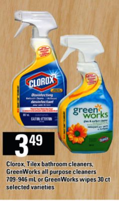 Clorox - Tilex Bathroom Cleaners - Greenworks All Purpose Cleaners - 709-946 Ml Or Greenworks Wipes - 30 Ct