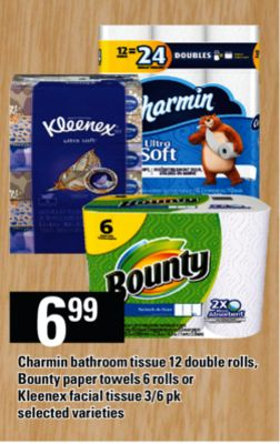 Charmin Bathroom Tissue - 12 Double Rolls - Bounty Paper Towels - 6 Rolls Or Kleenex Facial Tissue - 3/6 Pk