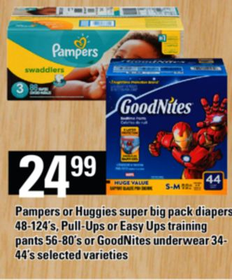 Pampers Or Huggies Super Big Pack Diapers - 48-124's - Pull-ups Or Easy Ups Training Pants - 56-80's Or Goodnites Underwear - 34- 44's