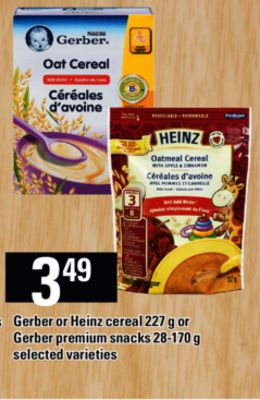 Gerber Or Heinz Cereal - 227 G Or Gerber Premium Snacks - 28-170 G