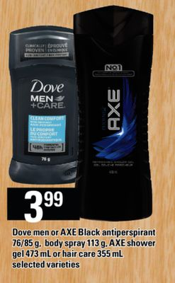 Dove Men Or Axe Black Antiperspirant - 76/85 g - Body Spray - 113 g - Axe Shower Gel - 473 mL Or Hair Care - 355 mL