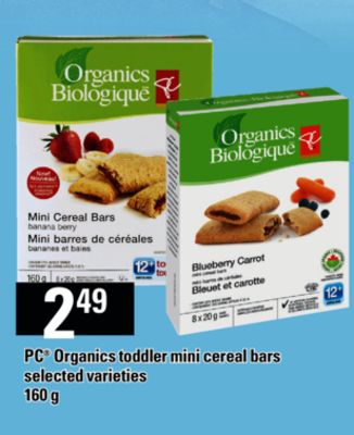 PC Organics Toddler Mini Cereal Bars - 160 g