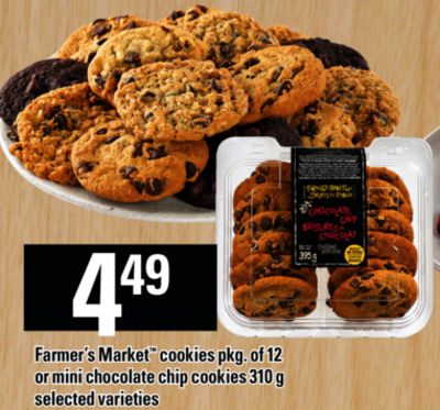 Farmer's Market Cookies - Pkg Of 12 Or Mini Chocolate Chip Cookies - 310 g