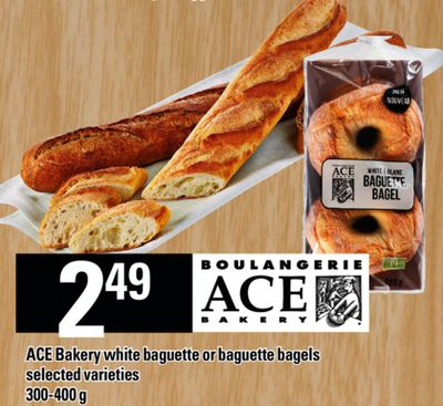 Ace Bakery White Baguette Or Baguette Bagels - 300-400 g