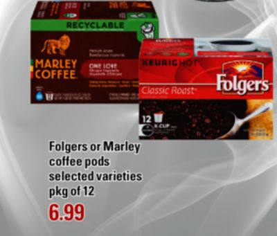 Folgers Or Marley Coffee PODS - Pkg of 12