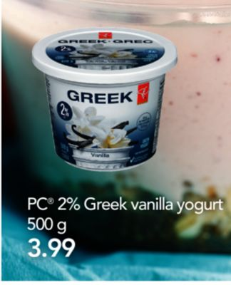 PC 2% Greek Vanilla Yogurt - 500 G