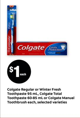 Colgate Regular Or Winter Fresh Toothpaste 95 Ml - Colgate Total Toothpaste 60-85 Ml Or Colgate Manual Toothbrush