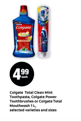 Colgate Total Clean Mint Toothpaste - Colgate Power Toothbrushes Or Colgate Total Mouthwash 1 L