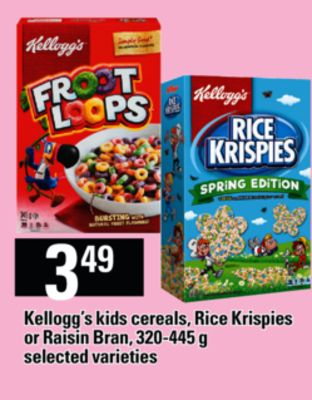 Kellogg's Kids Cereals - Rice Krispies Or Raisin Bran - 320-445 G