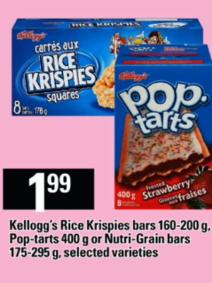 Kellogg's Rice Krispies Bars 160-200 G - Pop-tarts 400 G Or Nutri-grain Bars 175-295 G