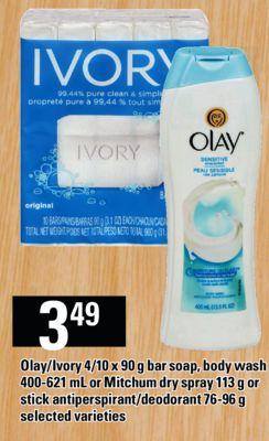 Olay/ivory 4/10 X 90 G Bar Soap - Body Wash 400-621 Ml Or Mitchum Dry Spray 113 G Or Stick Antiperspirant/deodorant 76-96 G