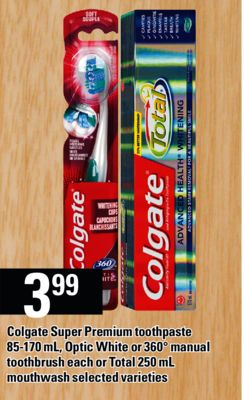 Colgate Super Premium Toothpaste - 85-170 mL - Optic White Or 360° Manual Toothbrush Each Or Total - 250 mL Mouthwash