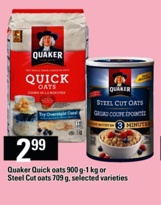 Quaker Quick Oats - 900 G-1 Kg or Steel Cut Oats - 709 g