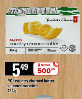 PC Country Churned Butter - 454 g