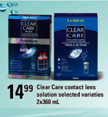 Clear Care Contact Lens Solution - 2x360 mL