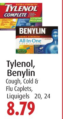 Tylenol - Benylin Cough - Cold & Flu Caplets - Liquigels