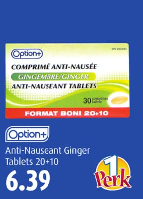 Option+ Anti-nauseant Ginger Tablets