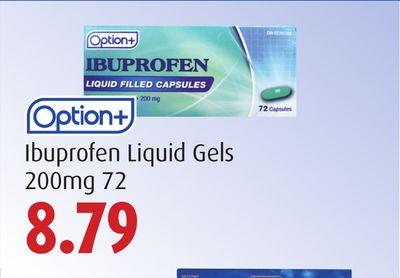 Option + Ibuprofen Liquid Gels  200 Mg 72