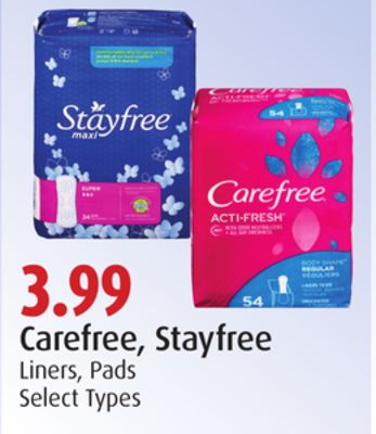 Carefree - Stayfree Liners - Pads