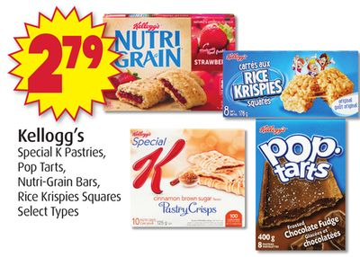 Kellogg's Special K Pastries - Pop Tarts - Nutri-grain Bars - Rice Krispies Squares