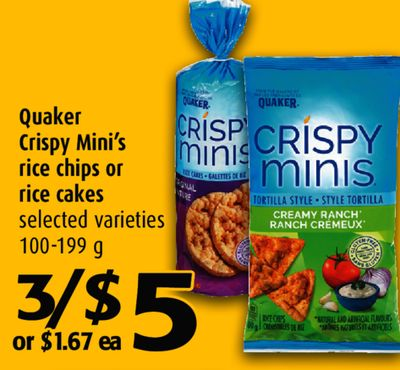 Quaker Crispy Mini S Rice Chips Or On Sale Salewhale Ca