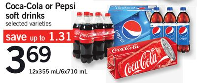 Coca-cola Or Pepsi Soft Drinks - 12x355 Ml/6x710 mL