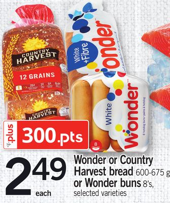 Wonder Or Country Harvest Bread - 600-675 G Or Wonder Buns - 8's