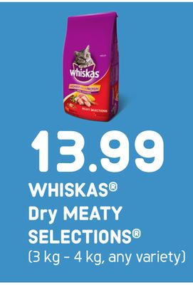 Whiskas Dry Meaty Selections - 3 Kg - 4 Kg