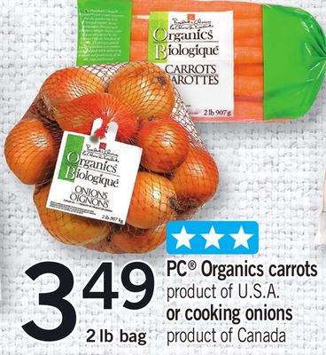 PC Organics Carrots Or Cooking Onions - 2 Lb Bag