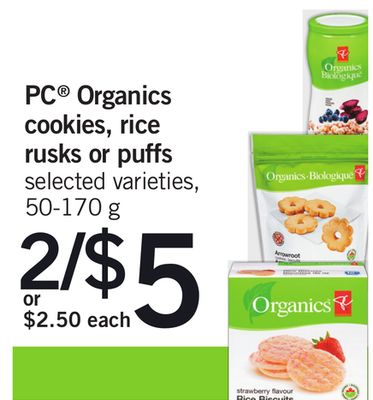 PC Organics Cookies - Rice Rusks Or Puffs - 50-170 g