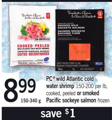 PC Wild Atlantic Cold Water Shrimp - 150-200 Per Lb Or Or Smoked Pacific Sockeye Salmon - 150-340 g