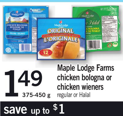 Maple Lodge Farms Chicken Bologna Or Chicken Wieners - 375-450 g