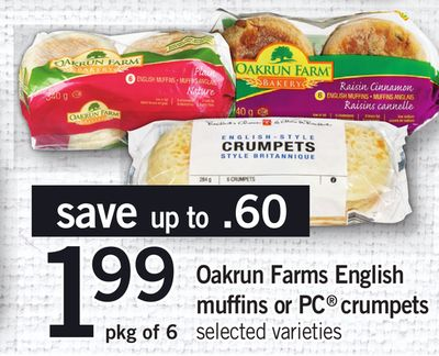 Oakrun Farms English Muffins Or PC Crumpets - Pkg of 6