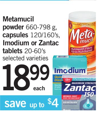Metamucil Powder - 660-798 g - Capsules - 120/160's - Imodium Or Zantac Tablets - 20-60's