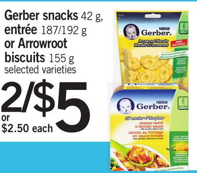 Gerber Snacks 42 g - Entrée 187/192 g or Arrowroot Biscuits 155 g